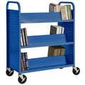 Sandusky® 46in.H x 39in.W x 19in.D Steel Double Sided Sloped Book Truck, 6 Shelf, Blue
