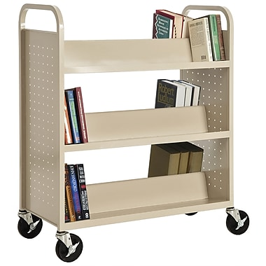 Sandusky® 46in.H x 39in.W x 19in.D Steel Double Sided Sloped Book Truck, 6 Shelf, Putty