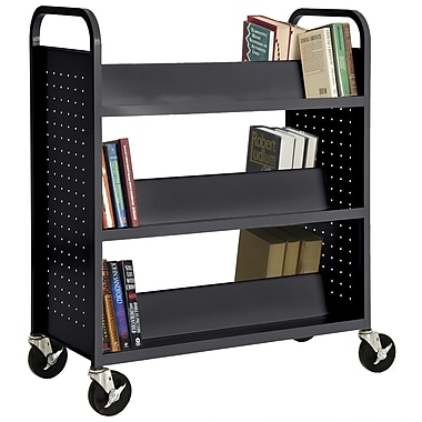 Sandusky® 46in.H x 39in.W x 19in.D Steel Double Sided Sloped Book Truck, 6 Shelf, Black