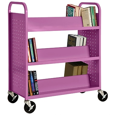 Sandusky® 46in.H x 39in.W x 19in.D Steel Double Sided Sloped Book Truck, 6 Shelf, Purple