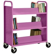 "Sandusky® 46""H x 39""W x 19""D Steel Double Sided Sloped Book Truck, 6 Shelf, Purple"
