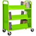 Sandusky® 46in.H x 39in.W x 19in.D Steel Double Sided Sloped Book Truck, 6 Shelf, Electric Green
