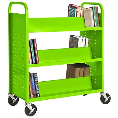 Sandusky® 46in.H x 39in.W x 19in.D Steel Double Sided Sloped Book Truck, 6 Shelf, Electric Green