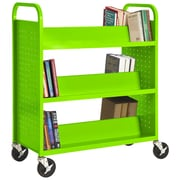 "Sandusky® 46""H x 39""W x 19""D Steel Double Sided Sloped Book Truck, 6 Shelf, Electric Green"