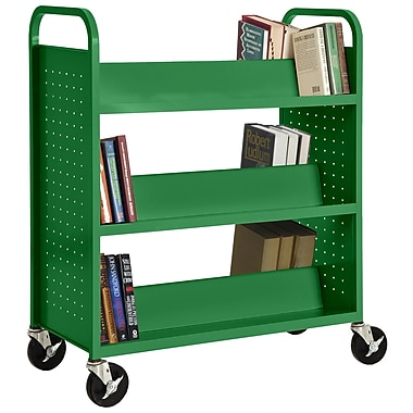 Sandusky® 46in.H x 39in.W x 19in.D Steel Double Sided Sloped Book Truck, 6 Shelf, Primary Green