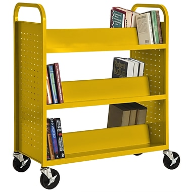 Sandusky® 46in.H x 39in.W x 19in.D Steel Double Sided Sloped Book Truck, 6 Shelf, Yellow