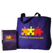 Baudville® Tote Bag With Journal And Pen, It Takes Teamwork