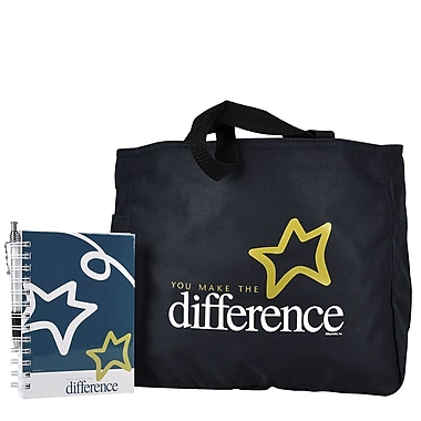 Baudville® Tote Bag With Journal And Pen, You Make the Difference