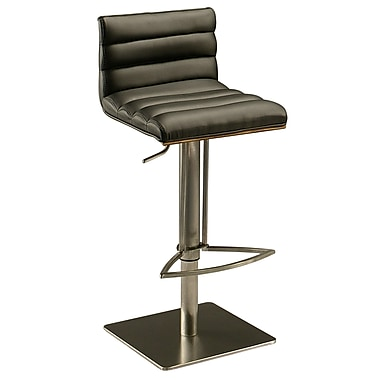 Pastel Dubai Leather Hydraulic Barstool With Walnut Veneer Back, PU Black