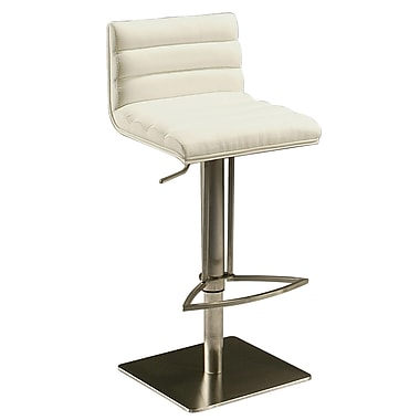 Pastel Dubai Leather Hydraulic Barstool With White Veneer Back, PU Ivory