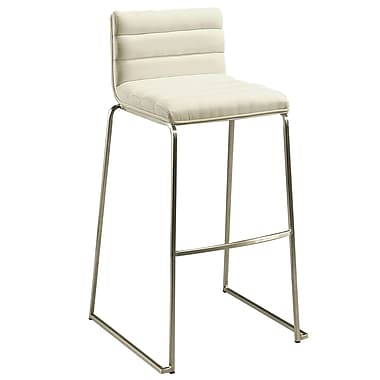 Pastel Dominica 26in. Leather Counter Stool With White Veneer Back, PU Ivory