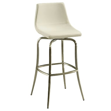 Pastel Diamond Pearl 26in. Leather Counter Stool, PU Ivory