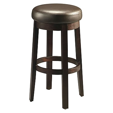 Pastel Ekatarina 30in. Leather Backless Barstool, Brown