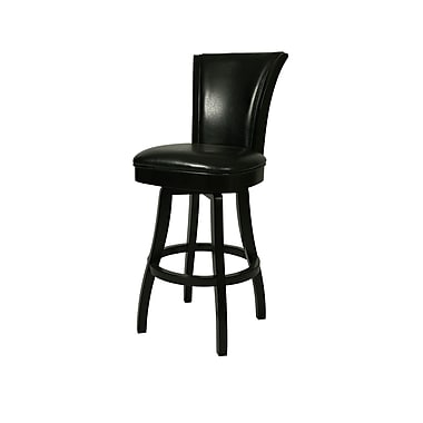 Pastel Glenwood 30in. Leather Swivel Barstool, Black