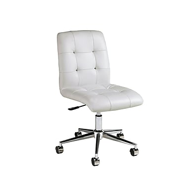 Pastel Hoquiam Leatherette Mid-Back Office Chair, PU Ivory