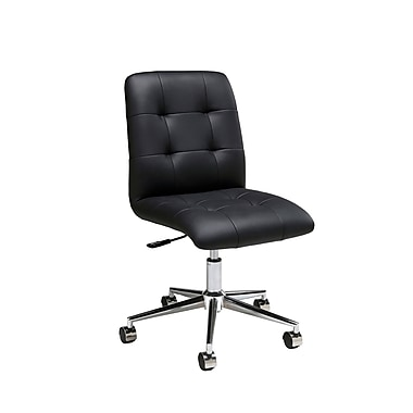 Pastel Hoquiam Leatherette Mid-Back Office Chair, PU Black