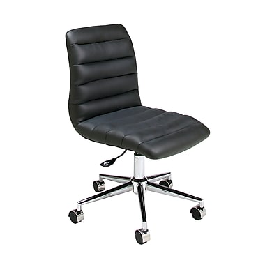 Pastel Hawthorne Leatherette Mid-Back Office Chair, PU Black