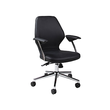 Pastel Ibanez Leatherette Mid-Back Office Chair, PU Black
