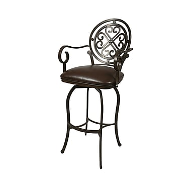 Pastel Island Falls 26in. Fabric Swivel Counter Stool With Arms, Ford Brown