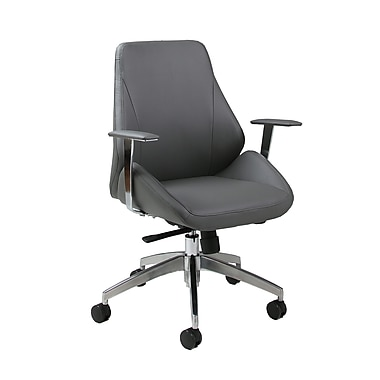 Pastel Isobella Leatherette Mid-Back Office Chair, PU Gray