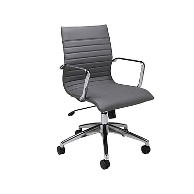 Pastel Janette PU Leatherette Mid-Back Office Chair, Fixed Arms, Gray