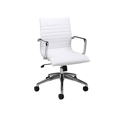 Pastel Janette Leatherette Mid-Back Office Chair, PU Ivory