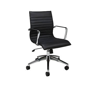 Pastel Janette Leatherette Mid-Back Office Chair, PU Black