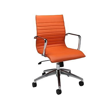 Pastel Janette Leatherette Mid-Back Office Chair, PU Orange