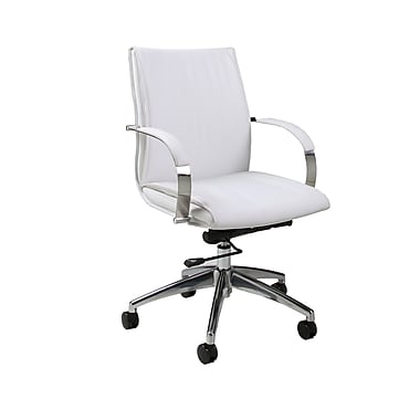 Pastel Furniture Josephina Faux Leather Computer and Desk Office Chair, Fixed Arms, Ivory (QLJP16477978)