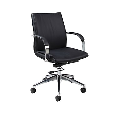 Pastel Furniture Faux Leather Computer and Desk Office Chair, Fixed Arms, Black (QLJP16477979)