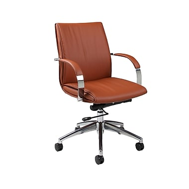 Pastel Furniture QLJP16477986 Josephina Polyurethane Mid-Back Executive Chair with Fixed Arms, Brown
