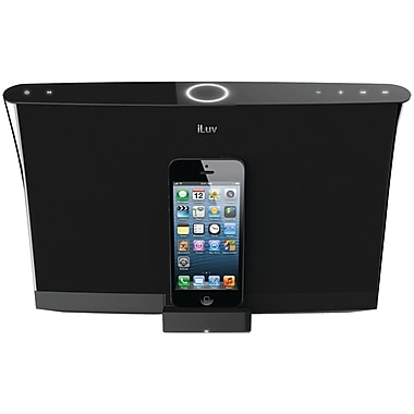 iLuv® AUD5A High-Fidelity Black Speaker and Lightning Dock For iPhone 5, Black
