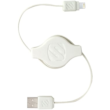 Scosche® strikeLINE pro 3' Retractable Charge & Sync Cable For Lightning Devices, White