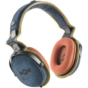 Marley™ Rise Up™ Over-Ear Headphones with 3-Button Microphone, Blue Denim