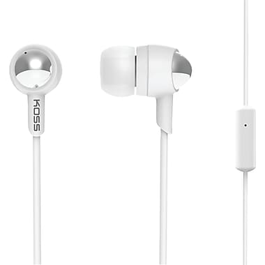 Koss® Passive Noise-Isolating In Ear Headphones With Microphone, White