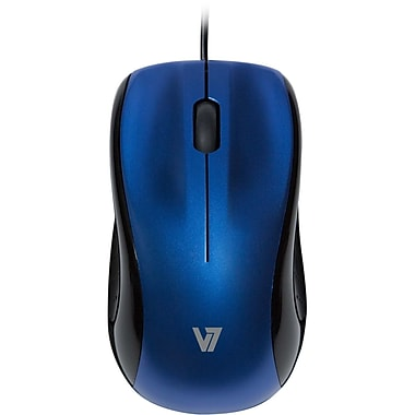 V7® 3BTN Wired Mid Size USB Optical Mouse, Blue