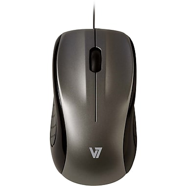 V7® 3BTN Wired Mid Size USB Optical Mouse, Silver