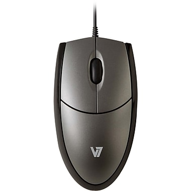 V7® 3BTN Wired Full Size USB Optical Mouse, Black/Silver