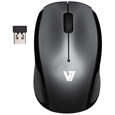 V7® 3BTN Wireless Mobile Optical Mouse, Black/Gray