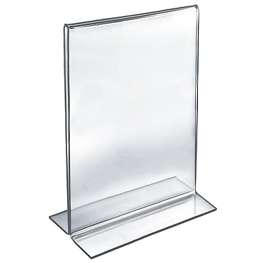 17in. x 11in. Vertical Double Sided Stand Up Acrylic Sign Holder, Clear
