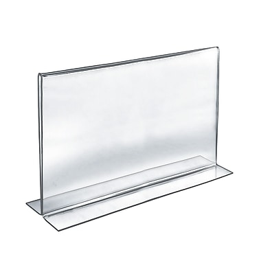 Azar® Horizontal Double Sided Stand Up Acrylic Sign Holder, Clear