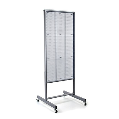 65in.(H) x 24in.(W) 2-Sided Pegboard Floor Display, Clear