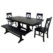 Walker Edison Millwright 6 Piece Wood Dining Set, Black