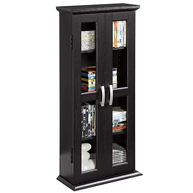 Walker Edison Wood Multimedia Storage Tower, Black