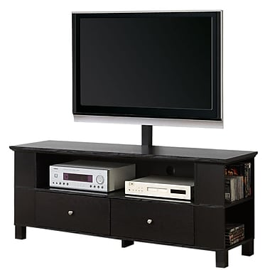 Walker Edison 60in. Wood TV Console With Mount and Multi-Purpose Storage, Black