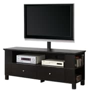 "Walker Edison 60"" Wood TV Console With Mount and Multi-Purpose Storage, Black"