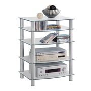Walker Edison Everest Glass Multi-Level Component Stand, Clear