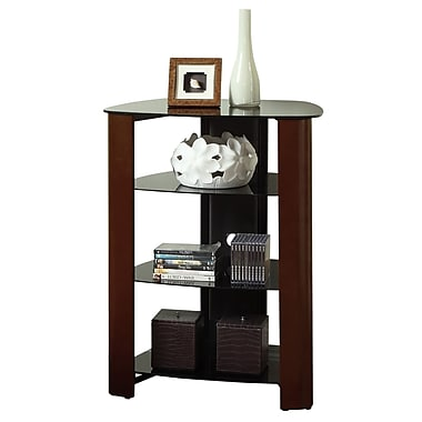 Walker Edison Regal Glass Multi-Level Component Stand, Wood Espresso