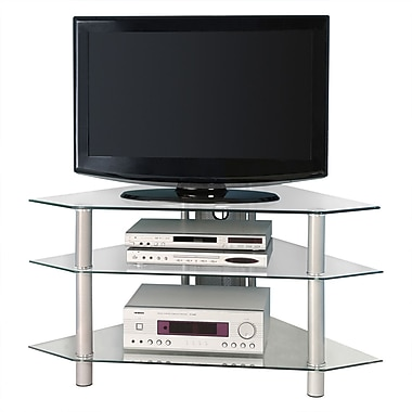 Walker Edison Bermuda 44in. Glass Corner TV Stand, Silver