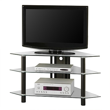 Walker Edison Bermuda 44in. Glass Corner TV Stand, Clear/Black